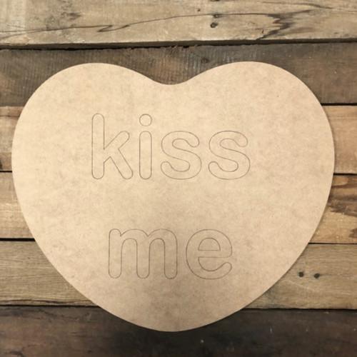 Kiss Me Heart Cutout, Unfinished Shape, Paint by Line