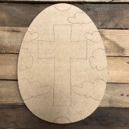 Cross Easter Egg Cutout, Unfinished Shape, Paint by Line