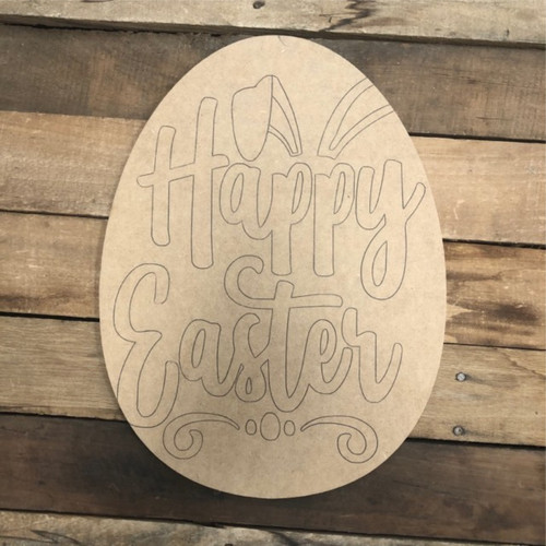 Happy Easter Egg Wood Cutout, Shape, Paint by Line