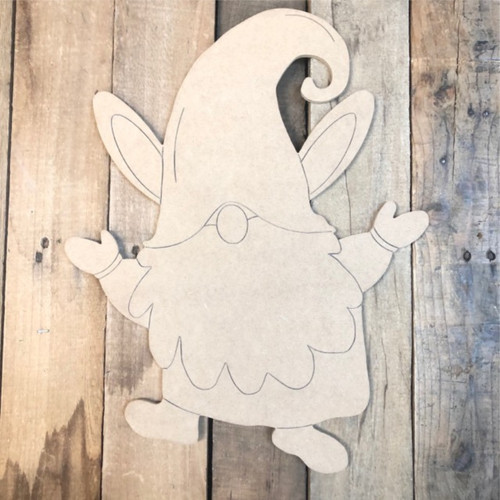 Gnome Bunny Hopping Cutout, Unfinished Shape, Paint by Line