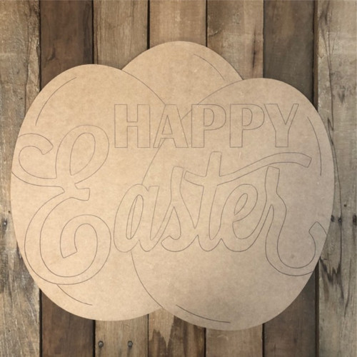 Happy Easter Eggs Wood Cutout, Shape, Paint by Line