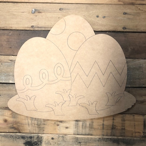 Three Eggs in the Grass, Wood Cutout, Shape, Paint by Line