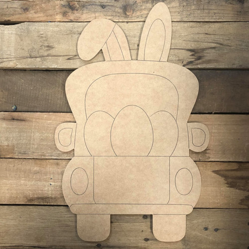 Bunny Truck with Eggs Cutout, Unfinished Shape, Paint by Line