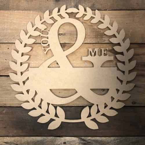 Mr & Mrs. Blank Wreath Frame Wooden - Unfinished  DIY Craft