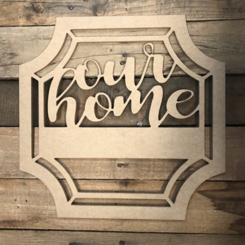 Our Home Blank Square Frame Wooden - Unfinished  DIY Craft