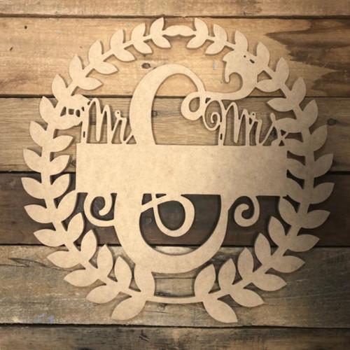 Mr & Mrs Blank Wreath 2 Frame Wooden - Unfinished  DIY Craft