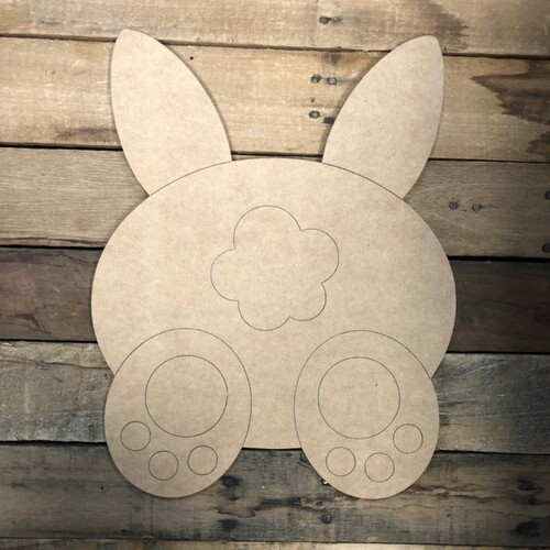 Bunny Butt Cutout, Unfinished Shape, Paint by Line
