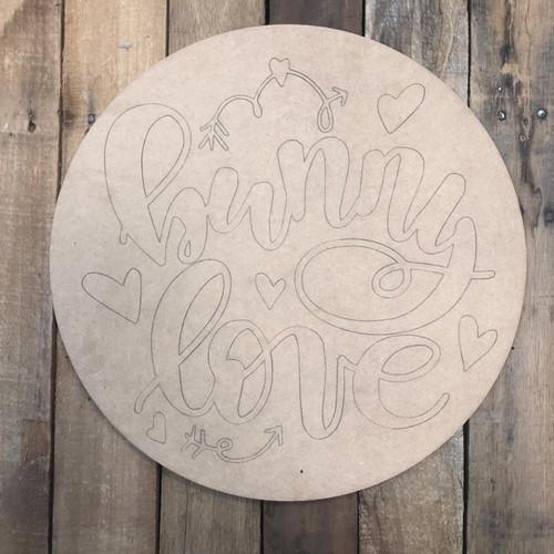 Bunny Love Circle,  Wood Cutout, Shape, Paint by Line