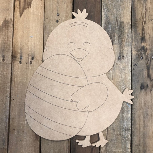 Chick with Egg Cutout, Unfinished Shape, Paint by Line