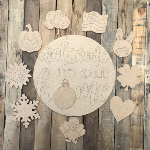 Welcome to Our Home Set Cutout, Unfinished Shape, Paint by Line