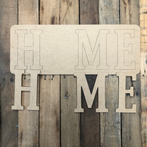 Home Plaque For Seasonal Kit Wood Cutout, Paint by Line