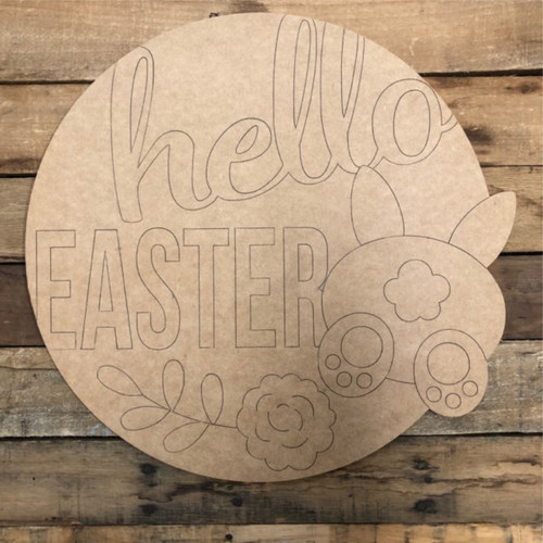 Hello Easter Circle,  Wood Cutout, Shape, Paint by Line