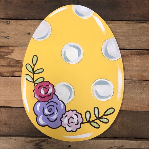 Easter Egg with Flowers Cutout, Unfinished Wall Decor Paint by Line