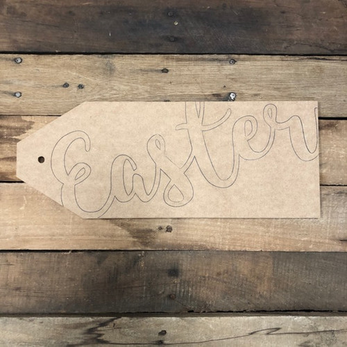 Wooden Easter Door Tag Cutout, Unfinished Wall Decor Paint by Line