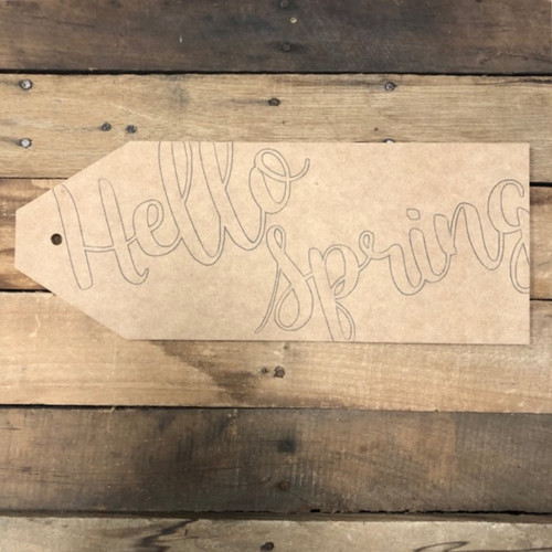 Wood Hello Spring Door Tag Cutout, Unfinished Wall Decor Paint by Line