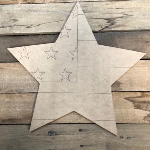 Patriotic Star, Wood Cutout, Shape Paint by Line