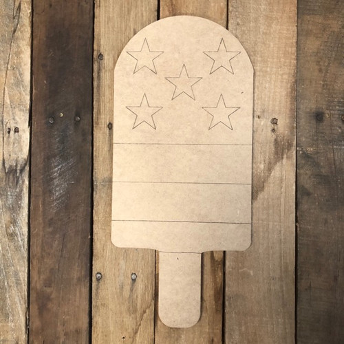 Popsicle with Stars Patriotic, Wood Cutout, Shape Paint by Line