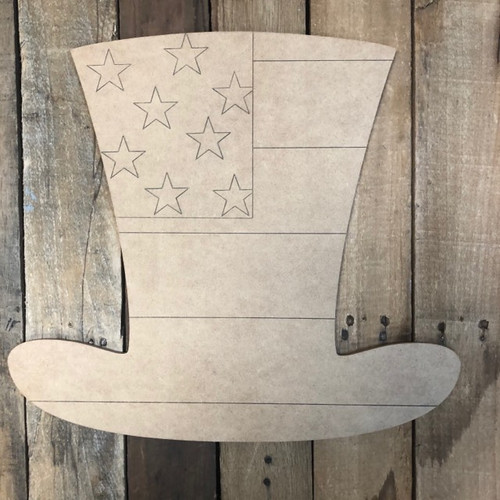 Hat with Stars Patriotic, Wood Cutout, Shape Paint by Line