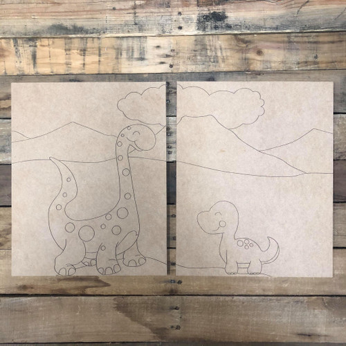 Boy Dinosaurs Painting for Two, Unfinished Son Painting, Paint by Line