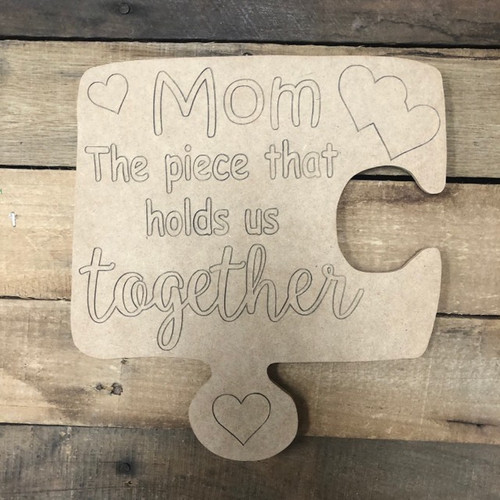 Mom Puzzle, Wood Cutout, Shape Paint by Line