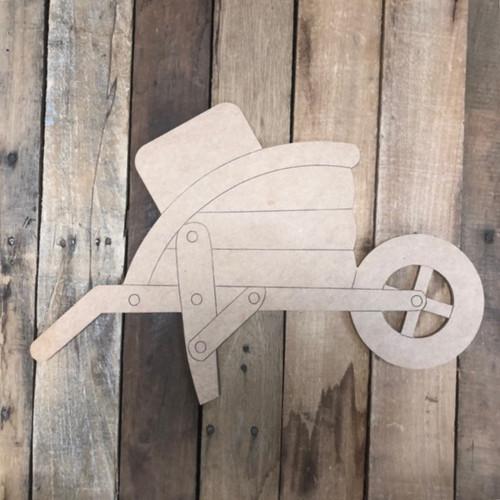 Seasonal Wheelbarrow Set Cutout, Unfinished Shape, Paint by Line