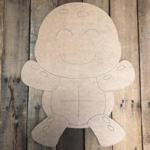 Smiling Turtle Shape, Wood Cutout, Paint by Line