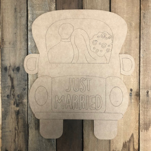 Just Married Truck Shape, Wood Cutout, Paint by Line