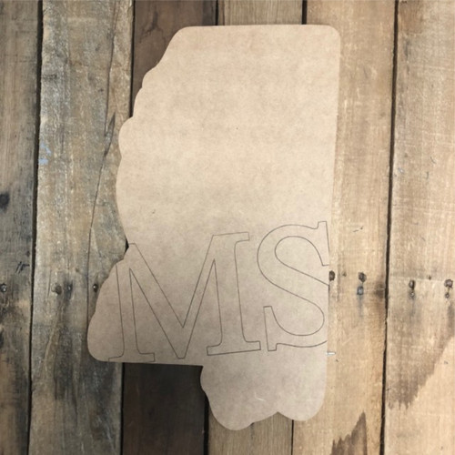 MS Mississippi Cutout, Unfinished Wall Decor Paint by Line