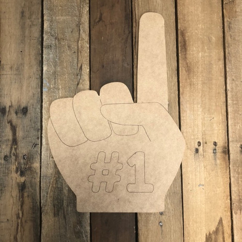 #1 Finger Cutout, Unfinished Wall Decor Paint by Line