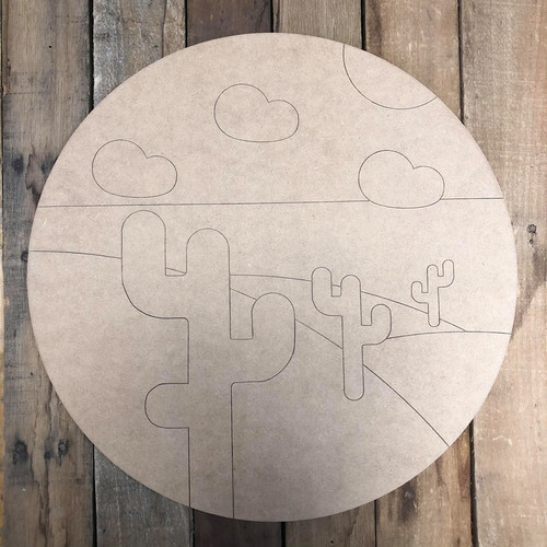 Desert Circle with Clouds Cutout Wall Art, Wood Cutout, Paint by Line