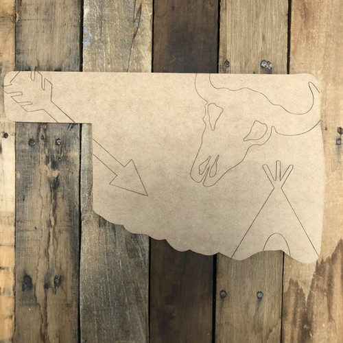 Oklahoma State with Cowhorns Wall Art, Wood Cutout, Paint by Line