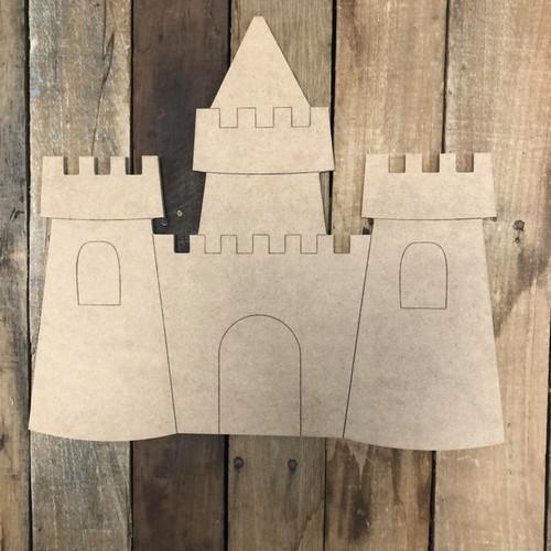Beach Sand Castle Shape Wood Cutout, Unfinished Wall Decor Paint by Line