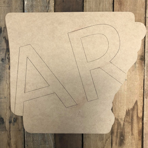 Arkansas AR State Wood Cutout, Unfinished Wall Decor Paint by Line
