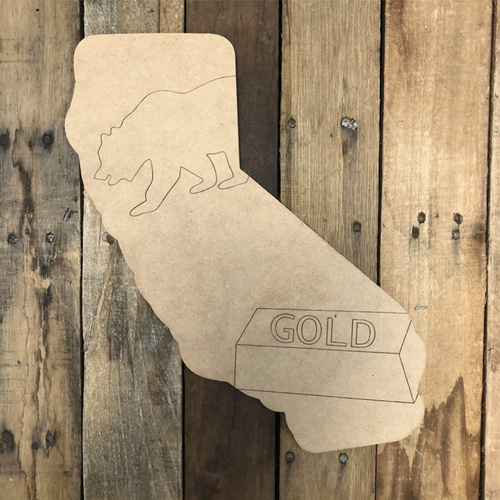 California Gold Wood Cutout, Unfinished Wall Decor Paint by Line