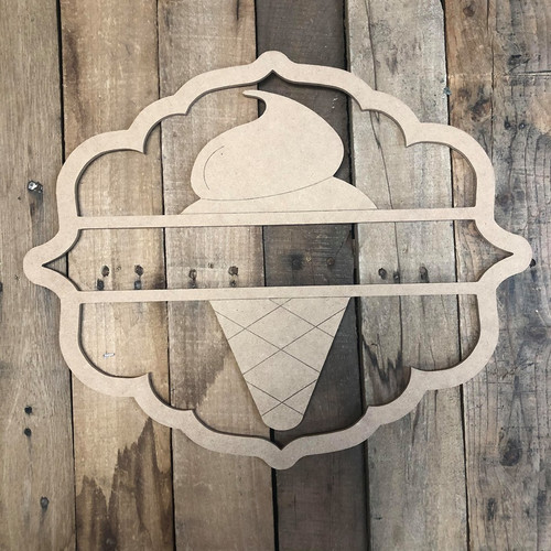 Icecream Cone, Paint by Line Name Frame - Unfinished DIY Craft
