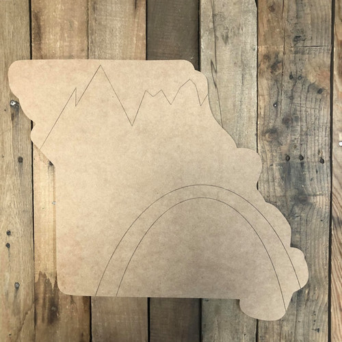 Missouri With Mountains State Cutout, Unfinished Wall Decor Paint by Line