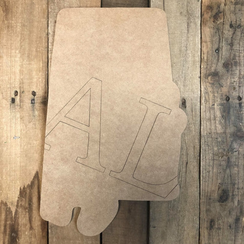 Al Alabama State Cutout, Unfinished Wall Decor Paint by Line