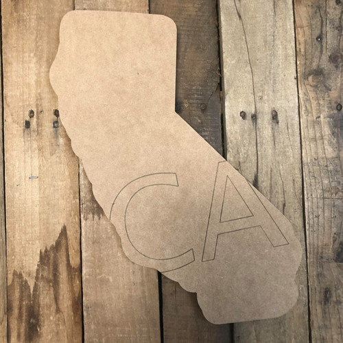 California CA State Cutout, Unfinished Wall Decor Paint by Line