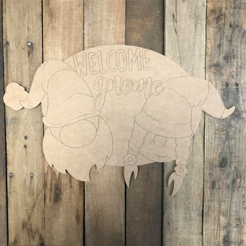 Welcome Gnome Wall Art, Wood Cutout, Paint by Line
