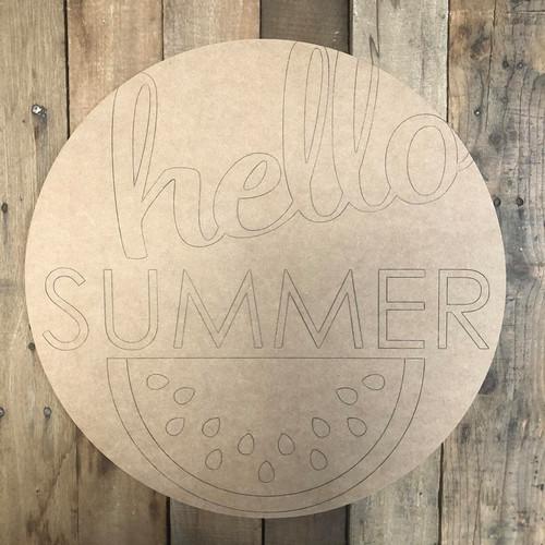 Hello Summer Circle Wall Art, Wood Cutout, Paint by Line