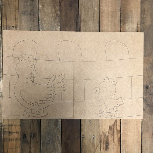 Chicken Painting for Two, Unfinished Wood Painting, Paint by Line