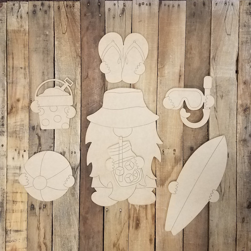 Summer Gnome Set Wood Cutout, Unfinished Shape, Paint by Line Kit