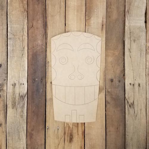 Tiki Hawaiian Backyard Statue Wood Shape, Paint by Line