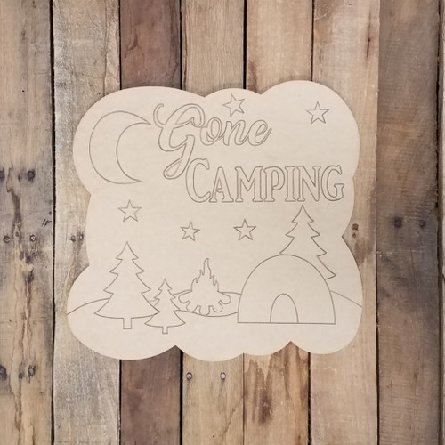 Gone Camping Craft Plaque, Wall Art, Wood Cutout, Paint by Line