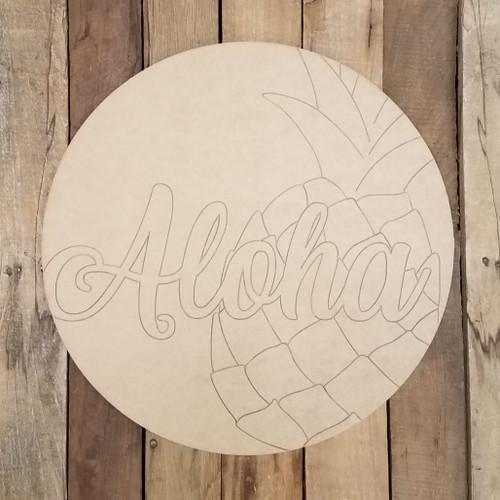 Aloha Pineapple Hawaiian Circle Plaque, Wood Shape Paint by Line