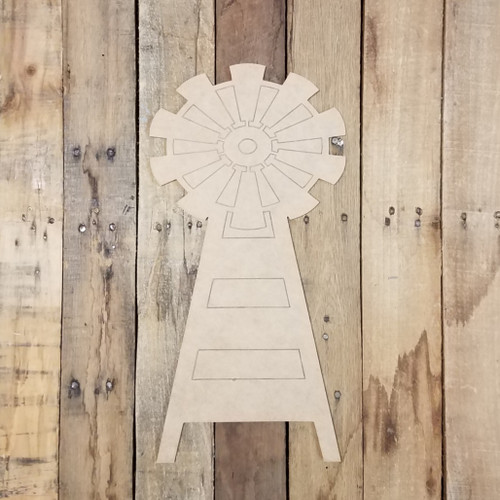 Tall Windmill Farmhouse Cutout, Unfinished Shape, Paint by Line