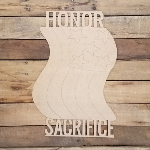 Honor Sacrifice Flag Shape Cutout, Shape Phrase Paint by Line