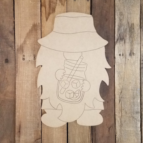Beach Gnome With Lemonade Unfinished Paint By Line Craft Shape