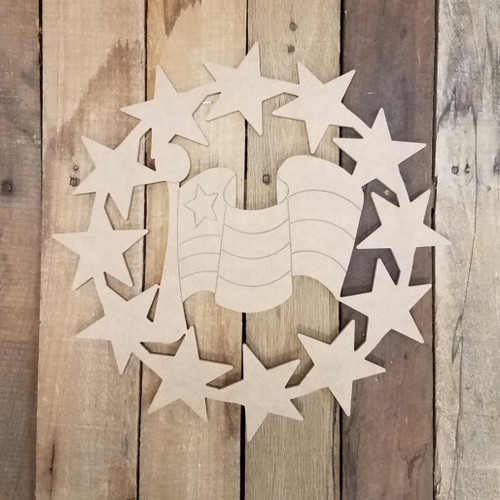 Star Wreath American Flag Shape Cutout, Patriotic Paint by Line Craft