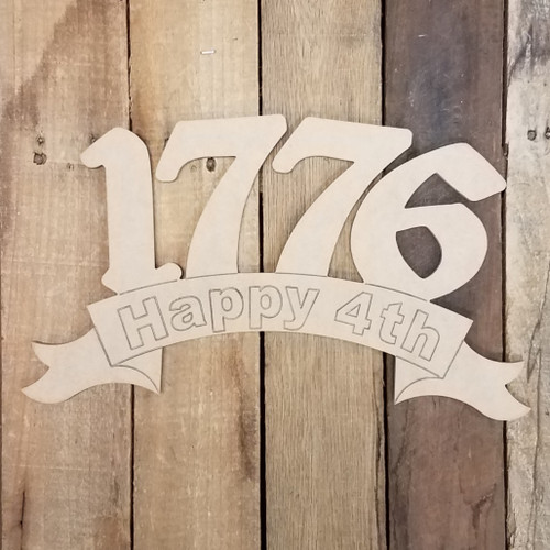 1776 Independence Day Banner, Patriotic Paint by Line Craft